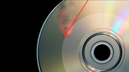 Rotating CD DVD burning animation with laser beam