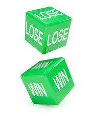 """Two green dice fall """"Lose"""" and """"Win"""""""