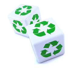 Two white dice with recycle symbols