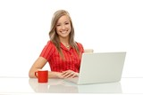 Portrait of happy woman with laptop
