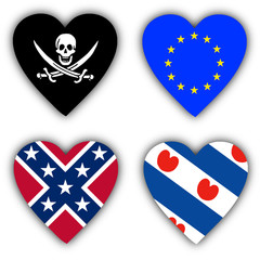 Flags in the shape of a heart, symbolic flags
