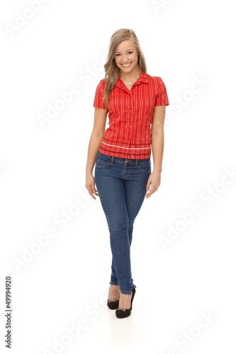 Full size photo of casual woman smiling