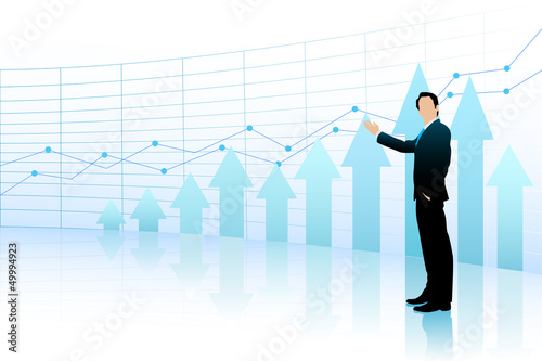 Business Man showing Bar Graph