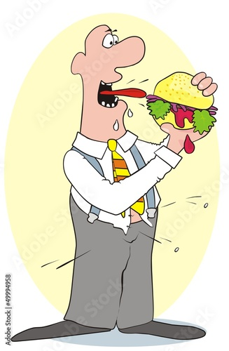 man and hamburger