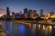 Melbourne Skyline across the Yarra River at sunset