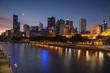 Melbourne Skyline across the Yarra River at sunset