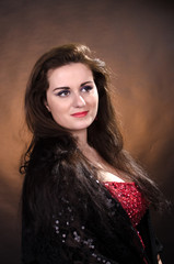 Portrait of young beautiful soprano singer