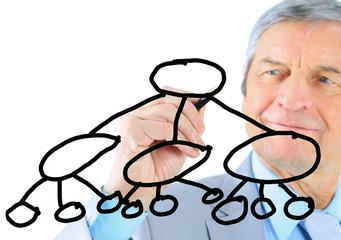 Businessman in age, draws a graph.