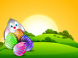 Happy Easter background with painted colorful eggs and bunny on