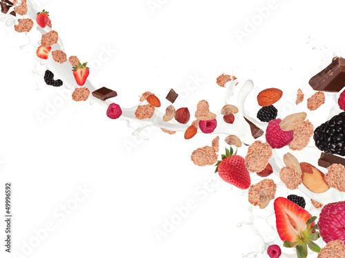 Leinwandbild Motiv Healthy food and milk with flying cereals and fruit on white