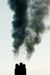 Industrial pollution chimneys black smoke emission