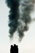 Industrial pollution chimneys black smoke emission