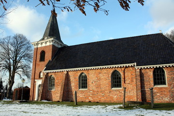 Small church from the 13th cemetery in Wedde (The Netherlands)