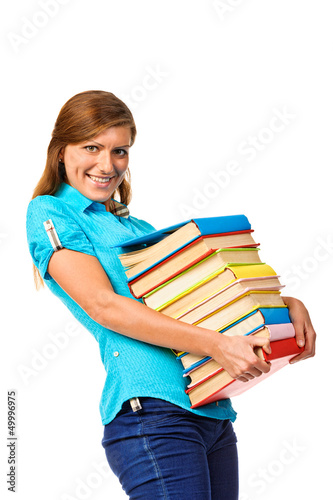 Student Girl with pile color book