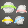 Abstract speech clouds with color ribbons Vector set