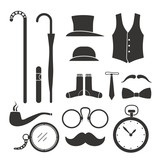 Gentlemens stuff design elements collection