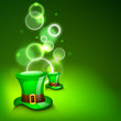 St. Patrick's Day greeting card or background with Leprechaun ha