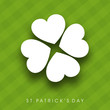 Shamrock leave background for Happy St. Patrick's Day. EPS 10.