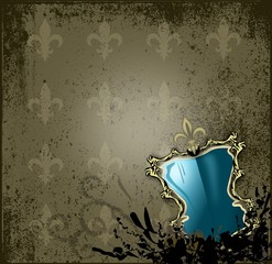 Wappen, Schild Rahmen vor Hintergrund - Fleur de Lys