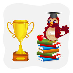 vector illustration of graduate bird sitting on pile of book