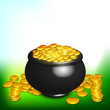 Irish happy St. Patrick's Day background with gold coins and pot