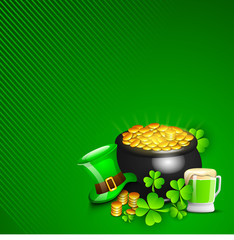 Irish Happy ST. Patrick's Day background with gold coins pot, le