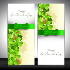 Shamrock decorated banner set for Happy St. Patrick's Day.