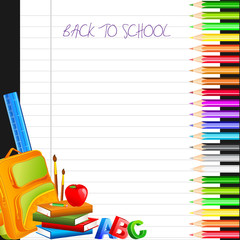 vector illustration of color pencil with bag and book