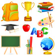 vector illustration of collection of colorful education object