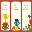 vector illustration of bookmark with school stationery
