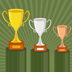 vector illustration of gold, silver and bronze trophy