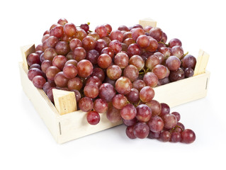 fresh red grape wine isolated on a white background
