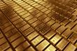 Leinwanddruck Bild - Stacked gold bars