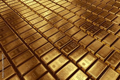 Leinwanddruck Bild Stacked gold bars