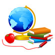 vector illustration of Globe,book and apple