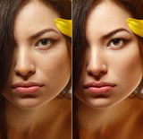 Power of retouch - face of beautiful young woman before and afte poster