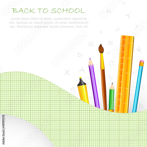 vector illustration of school stationery agsinst graph chart