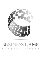 Business logo 3D grey sphere design