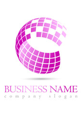 Business logo 3D pink sphere design