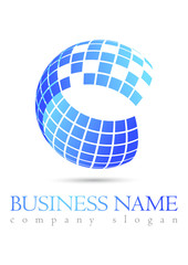 Business logo 3D blue design