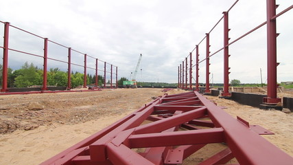 steel frames at a construction site