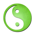 green ying yang symbol paper art on white