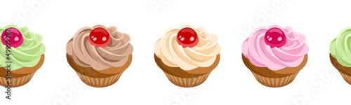 Horizontal seamless background with cupcakes. Vector.