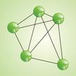 Atom part  on green backgorund.