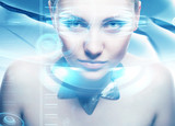Robot woman with lighting eyes and virtual hologram interfase poster