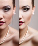 Retouch - face of beautiful young woman before and after retouch poster