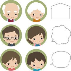 3世代の家族の顔とフキダシ