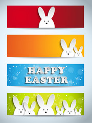 Happy Easter Rabbit Bunny Set of Banners