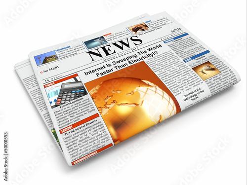 News. Folded newspaper on white isolated background