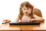 child with internet dependence with keyboard looking at camera l